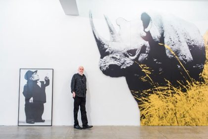 "Artist John Baldessari, 82, poses for a portrait at Marian Goodman Gallery where he is exhibiting ""Installation Works, 1987-1989"" in New York City on June 26th, 2013. Baldessari will also have his first show in Moscow at The Garage CCC in September. CREDIT: Bryan Derballa for Financial Times"