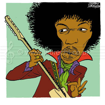 Caricature of Jimi Hendrix with guitar American rock guitarist, born 27 November 1942, died 18 September 1970.